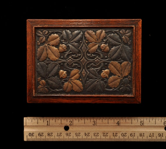 Antique art deco walnut box with inset stamped metal oak and acorn. Trinket box