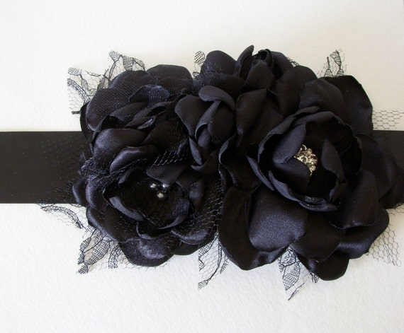 Bridal Sash - Five Flower Sash - Solid Black - Maternity Sash, Black Sash, Ribbon Sash, Bump Sash, Black Flowers, Handmade Flowers