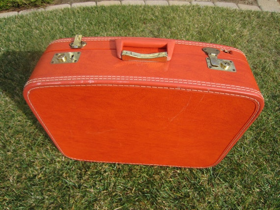Red Leather Vintage Suitcase