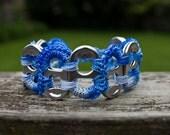 Blue and Sky Blue Pop Tab Upcycled Crochet Bracelet