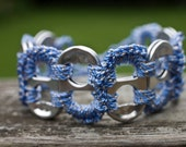 Baby Blue and Gold Pop Tab Upcycled Crochet Bracelet
