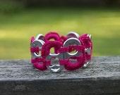 Fuschia Pop Tab Upcycled Crochet Bracelet