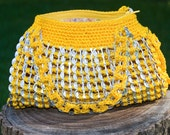 Upcycled Golden Yellow Crochet Pop Tab Hand Bag