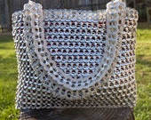 Bright Silver Upcycled Crochet Pop Tab Bag