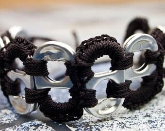 Black Pop Tab Upcycled Crochet Bracelet