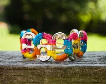 Rainbow Pop Tab Upcycled Crochet Bracelet