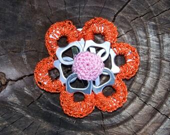 Tangerine & Gold Pop Tab Upcycled Crochet Flower Barrette
