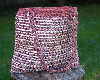 Upcycled Mauve Crochet Pop Tab Purse