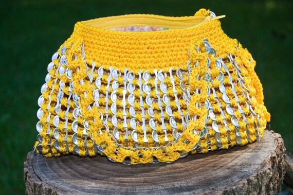 Upcycled Golden Yellow Crochet Pop Tab Hand Bag