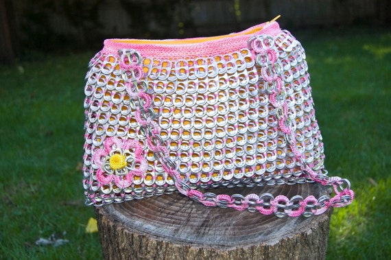 Upcycled Multi-Colored Pink Crochet Pop Tab Purse
