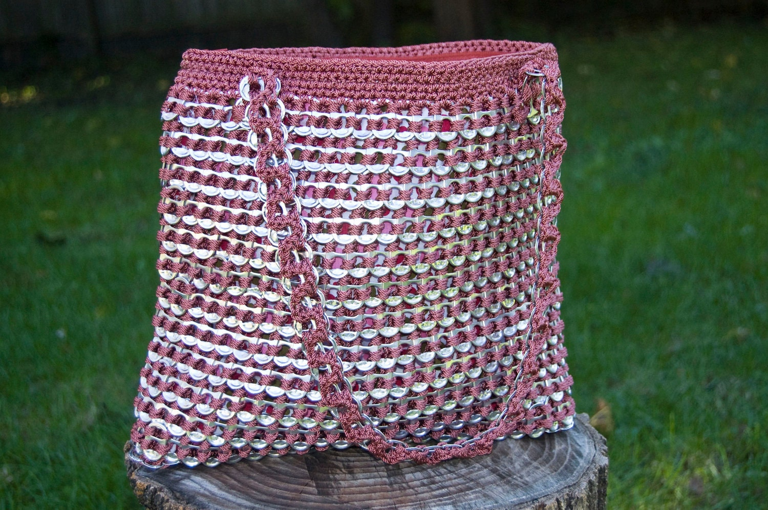 Crocheting With Pop Tabs : Upcycled Mauve Crochet Pop Tab Purse by Flor7 on Etsy
