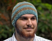 Knitted Hat - Blue and Brown Stripes - Unisex Beanie - Warm