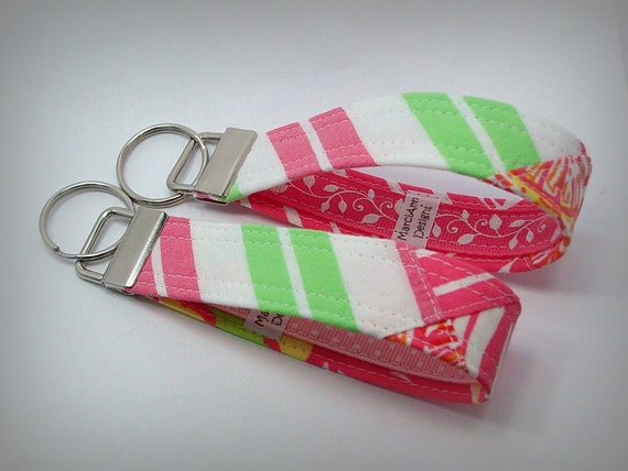 "Lilly Pulitzer Key Fob Key Chain - VINTAGE Recycled ""Patchwork"" Skirt"
