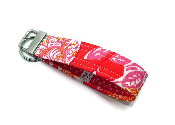 Lilly Pulitzer Fabric Key Fob Key Chain - Pink and Orange