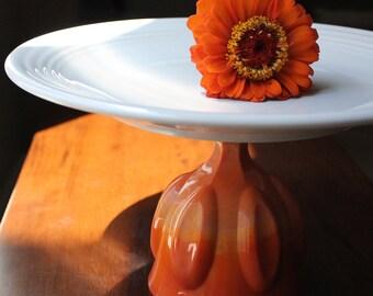 Ceramic Cake Stand / Vintage Cake Stand Pedestal / Cupcake Pedestal / Orange Cake Stand / Cookie Platter Pedestal for Custom Wedding Cookies