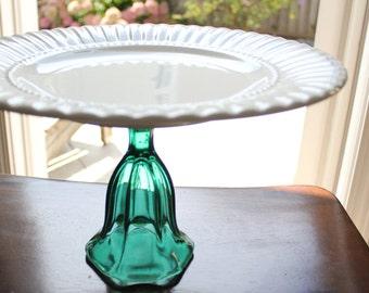 Teal Cake Stand Pedestal Cake Pedestal Stand / Cupcake Stand Cupcake Pedestal / Macaron Cake Pop Stand Truffle Pedestal / Teal Green