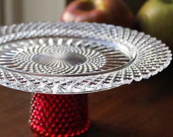 Cake Stand / Cupcake Stand Truffle Pedestal Mini Cake Stand Ruby Red Cake Stand Gift / Apple Dessert Pedestal as SEEN ON REGRETSY.com