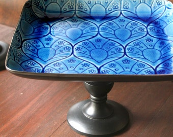 Moroccan Weddings - Ceramic Cake Stand Pedestal in Cobalt Blue / Cupcake Stand / Square Dessert Pedestal / Petit Four Platter