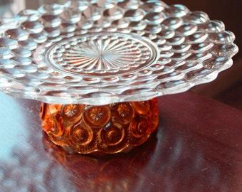 Orange Cake Stand / Vintage Glass Dessert Pedestal / Cupcake Stand Truffle Pedestal / Macaron Stand Macaron Pedestal for Macarons Macaroons
