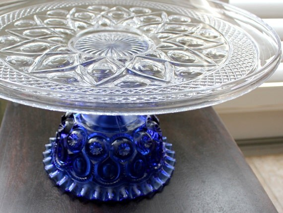 "Cobalt Blue Cake Stand / 16"" Glass Cake Stand Pedestal / Wedding Pedestal Wedding Centerpiece Decor / Something Blue Weddings"
