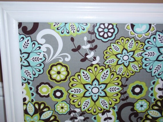 Framed Magnetic Board Grey Fabric with LimeGreen & Turquoise Flowers in Glossy White Frame with Four Jewel Magnets