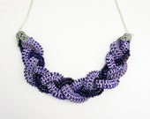 Ribbon Necklace- Accordion Sparkling Purple