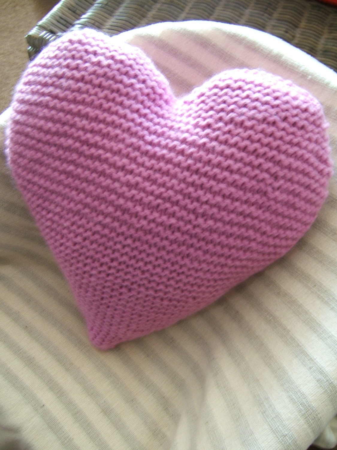 Knitting Pattern Heart Cushion : Heart Cushion / Pillow / Hand Knitted Woollen Large by BeOdd