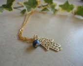 Gold Hamsa Necklace,Gold  Hamsa for Luck & Protection.Gold Necklace Natural blue lapis ,14k gold filled Pendant and Chain,.ISRAEL