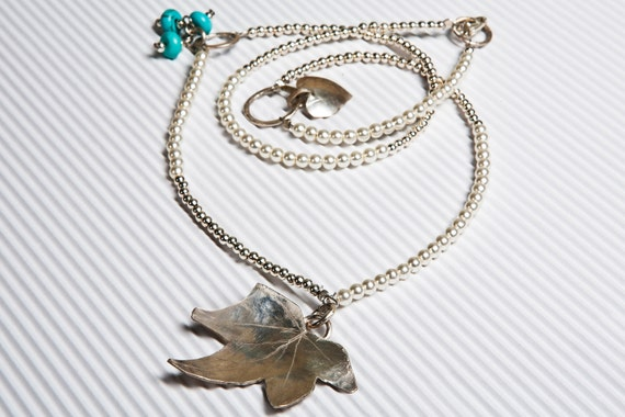 Silver ivy leaf Necklace, Extra Long Necklace, Heart &Turquoise stone.Handmade  Necklace Gift gift for her.
