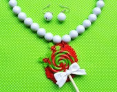 Holiday Christmas Peppermint Lollipop Pendant Necklace and Earring Set