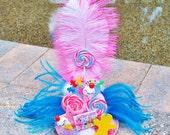 Candy Land Lollipop Mini Top Hat Fascinator Clip Pastel