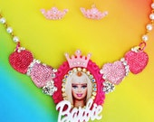 Barbie Sparkle Heart Cameo Bib Necklace and Earring Set