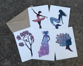 Set Of 5 Doily Inspired Postcards