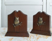 Retro Owl Wooden Bookends