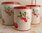 Set of Vintage Decoware Canisters with Vegetables