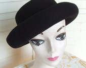 80's Black Wool Hat ala Molly Ringwald