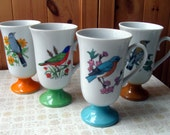 Set of 4 Vintage Bird Mugs
