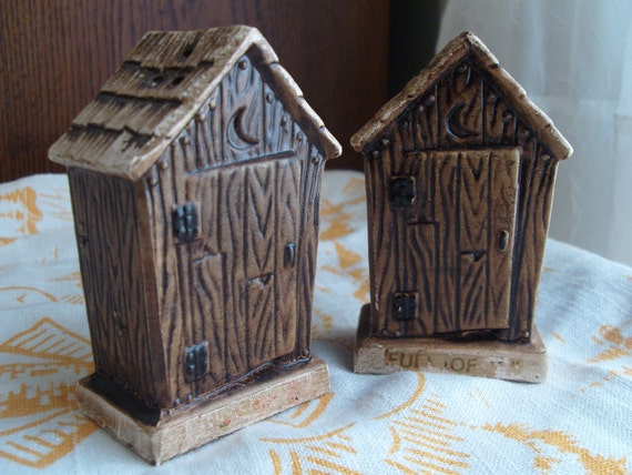 Vintage Outhouse Salt and Pepper Shakers Set