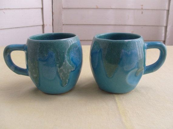 20% OFF - Vintage Dryden Pottery - Pair of Turquoise Mugs