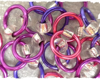"Ringlets ""Hot Petunia"" stitch markers, ring markers, knitting markers, snag free, dangle free"