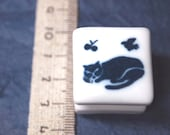 rubber stamp with porcelain handle (no.19) sleeping cat