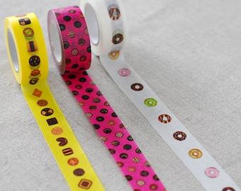 more sale   masking tape 3 rolls set (no.ck005) donuts