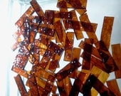 50 ROOT BEER BORDERS 1/4 x (3/4-1) Granite Texture Stained Glass Tile