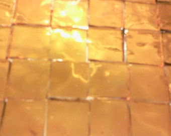 """LIGHT GOLDEN AMBER 1/2"""" Sunshine Gold Stained Glass Mosaic Tile A20"""