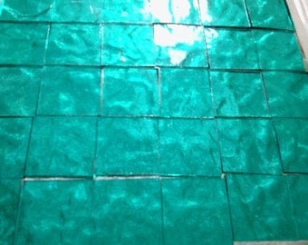 "BLUEGRASS BLUEGREEN TEAL Stained Glass Mosaic Tile Supply 50 1/2"" A6"
