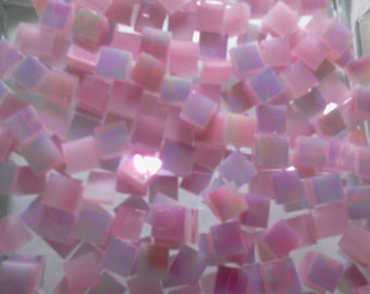 """Cotton Candy 100 1/4"""" Tiny Tiles IRIDESCENT PINK Stained Glass Mosaic"""
