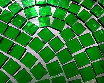 50 BRIGHT EMERALD GREEN 1/2 in Tiles - Stained Glass Mosaic Supply A8
