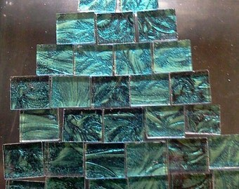 35 Van Gogh Glass Mosaic Tile - BlueGreen Rectangles