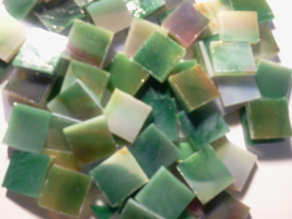 50 1/2 in Mosaic Tiles ORANGE & AVENTURINE GREEN Stained Glass Tile Supply