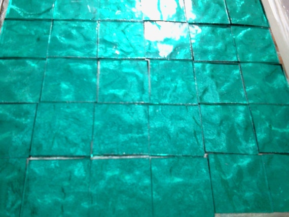 """BLUEGRASS BLUEGREEN TEAL Stained Glass Mosaic Tile Supply 50 1/2"""" A6"""